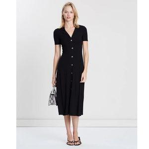 Mango Vestrib button ribbed collar black dress